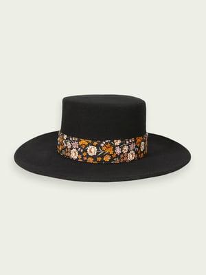 Капелюх чорний в квітковий принт   5580596