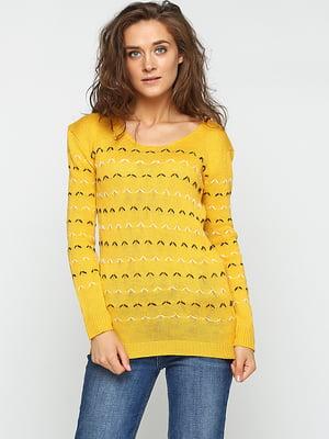 Джемпер желтый с узором-полоской | 5584132