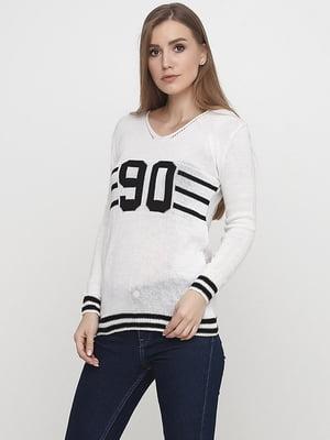 Пуловер білий в смужку і принт | 5584140
