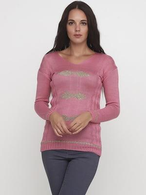 Пуловер кольору фрезії з візерунком | 5584558