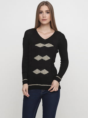 Пуловер чорний з візерунком | 5584559