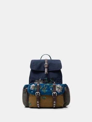 Рюкзак комбинированного цвета с цветочной вышивкой | 5580106