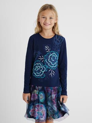 Платье темно-синее с принтом | 5580129