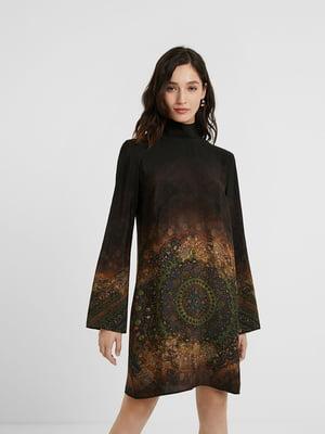 Платье коричневое в принт | 5580199