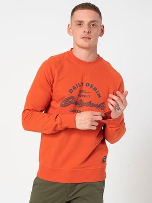 Свитшот оранжевый с принтом   5580653