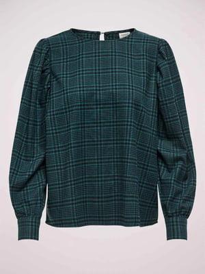 Блуза темно-бирюзовая в клетку | 5580777