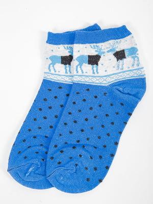 Шкарпетки сині у принт   5584921