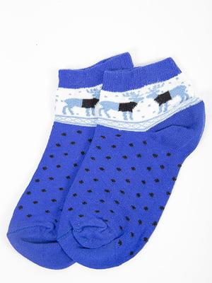 Носки синие в принт   5584922