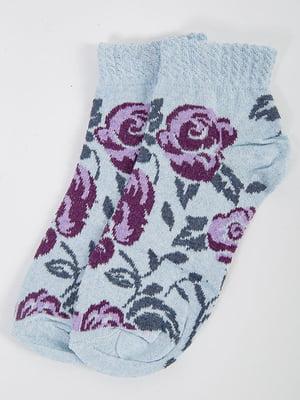 Шкарпетки блакитні у принт | 5584927