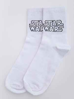Носки белые с принтом | 5584956
