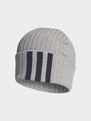 Шапка світло-сіра з логотипом-смужками | 5584676