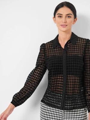 Рубашка черная в «гусиную лапку» | 5588104