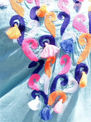 Туника голубого цвета с декором | 5589114