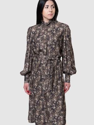 Сукня коричнева в принт | 5590355
