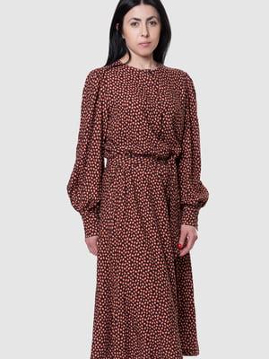 Платье бордовое в принт | 5590361