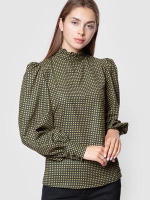 Блуза цвета хаки в клетку | 5590364