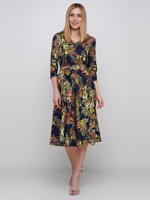 Сукня синя в квітковий принт | 5591545
