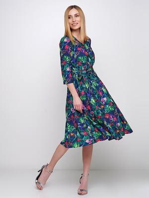 Сукня синя в квітковий принт | 5591546