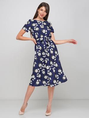 Сукня синя в квітковий принт | 5591573
