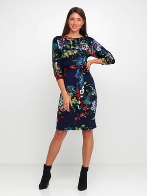 Сукня темно-синя в квітковий принт | 5591644