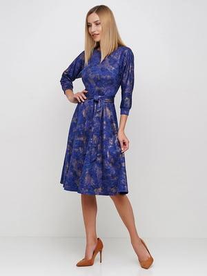 Платье синее в принт | 5591671