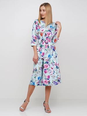 Сукня блакитна в квітковий принт | 5591673