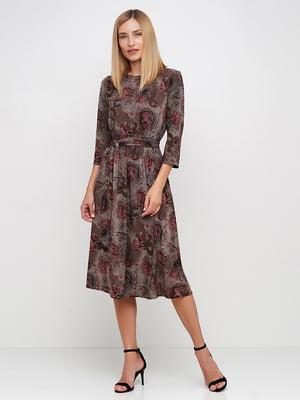 Платье коричневое в цветочный принт | 5591678