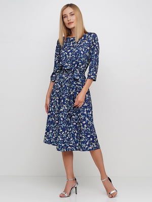 Сукня синя в квітковий принт | 5591686