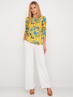 Блуза жовта в квітковий принт | 5591698