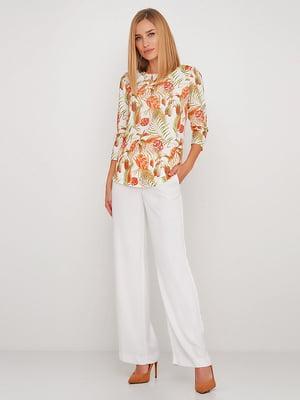 Блуза біла в квітковий принт | 5591699