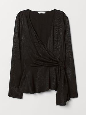 Блуза черная с анималистическим узором   5589919