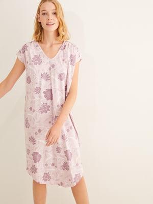 Сорочка нічна бузкова з квітковим принтом | 5593558