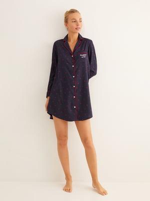 Сорочка нічна синя в горошок | 5593561