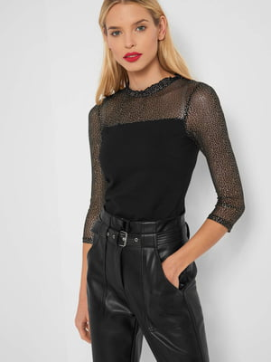 Блуза-топ чорна з декором | 5595526
