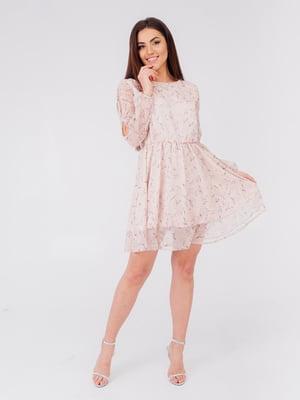 Платье цвета пудры в принт   5595946