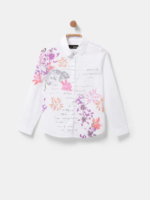 Сорочка біла з принтом | 5580117