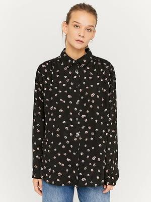 Сорочка чорна в квітковий принт | 5595547