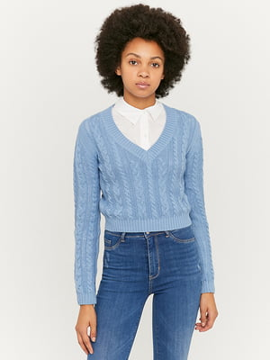 Пуловер голубой | 5595585