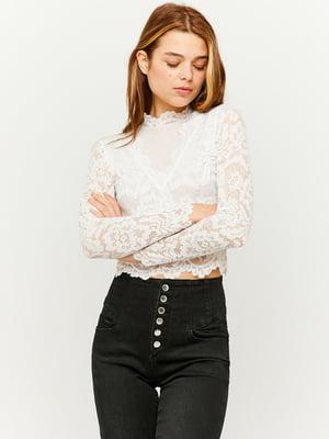 Блуза-топ белая с кружевом | 5595755