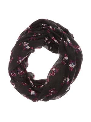 Шарф-снуд чорний з квітковим принтом | 5596313