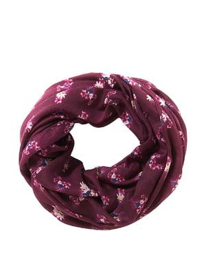 Шарф-снуд фіолетовий з квітковим принтом | 5596318