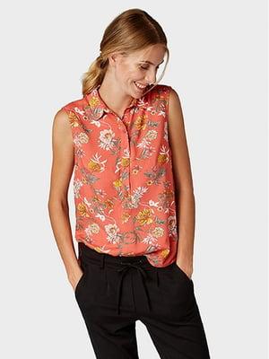 Блуза кораллового цвета в цветочный принт   5596323