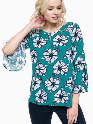 Блуза зеленая в цветочный принт   5596338