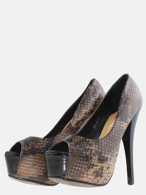 Туфлі коричневі з анімалістичним принтом | 5591966