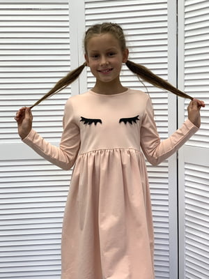 Платье цвета пудры в принт | 5596559