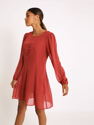 Сукня коралового кольору в горошок | 5594355