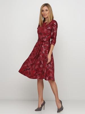 Сукня червона у принт | 5591606