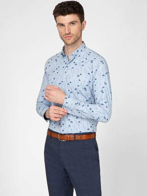 Рубашка голубого цвета в принт   5598649