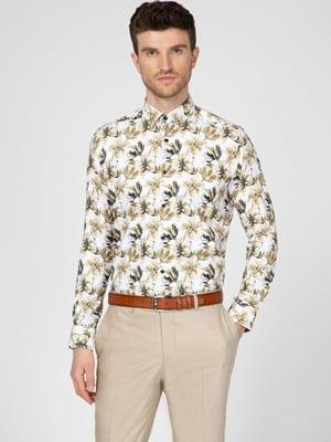 Рубашка бежевая в цветочный принт   5598652