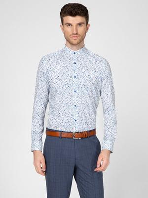 Рубашка серая в принт | 5598659